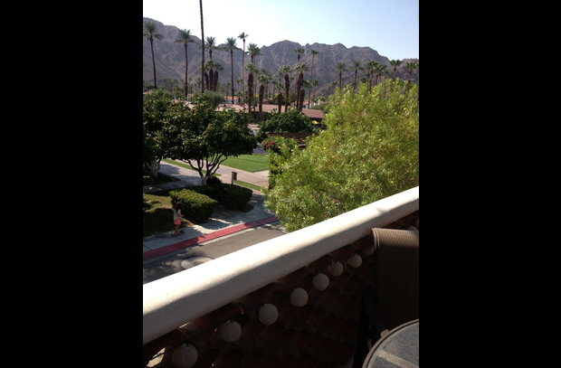 View of mountains; pool with food service across from condo